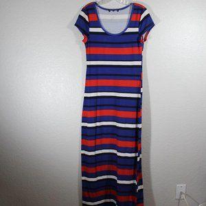 Maxi Dress Short sleeve Round neck Striped
